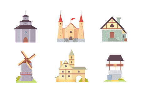 Old castle, europe palace building vector illustrations. Medieval historical buildings, architecture Towers and old city houses