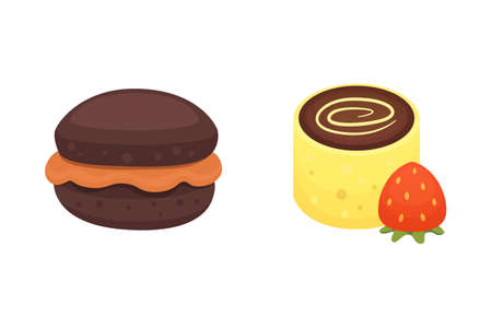 chocolate muffin and dessert roll bakery products. Sweet cupcake vector illustration Stockfoto