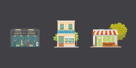 Shop store buildings vector illustrations set. Market exterior, restaurant. Vegetable store, pharmacy, boutique, urban front houses.