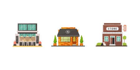 Shop store buildings vector illustrations set. Market exterior, restaurant and cafe. Boutique, urban front houses.