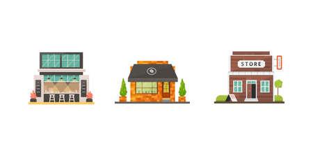 Shop store buildings vector illustrations set. Market exterior, restaurant and cafe. Boutique, urban front houses.