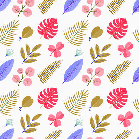 Color seamless pattern with green palm leaves. Floral tropical foliage on white background Stock Illustratie