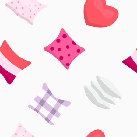 Pillow vector pattern. Sleeping cartoon style texture. Stock Illustratie
