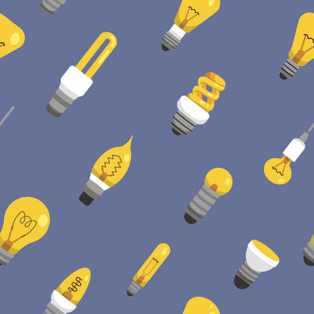 Light bulb seamless pattern. Color lamp background vector