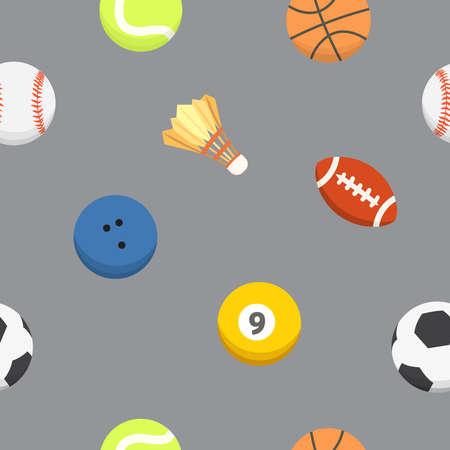 Sport ball pattern. Vector seamless background. Sporting equipment pattern