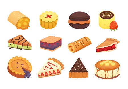 Sweets desserts objects collection, strawberry cakes, fruit and berry sweet pies with cream. Homemade bakery cake dessert pie vector set