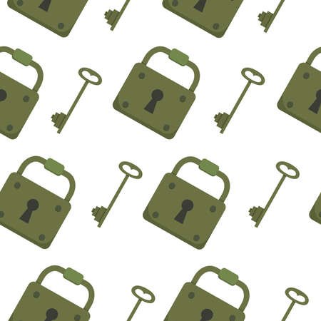 Seamless pattern with key vector. locks and keys background