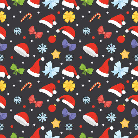 New year seamless pattern of christmas hats and decorations, star, candy, snowflake