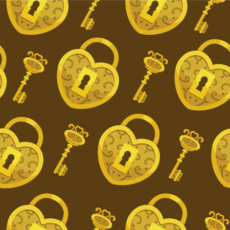 Seamless pattern with key vector. Gold lock hearts and keys background Иллюстрация