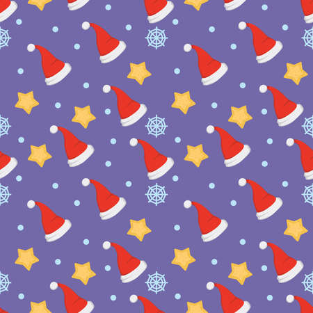 New year seamless pattern of christmas hats and decorations xmas
