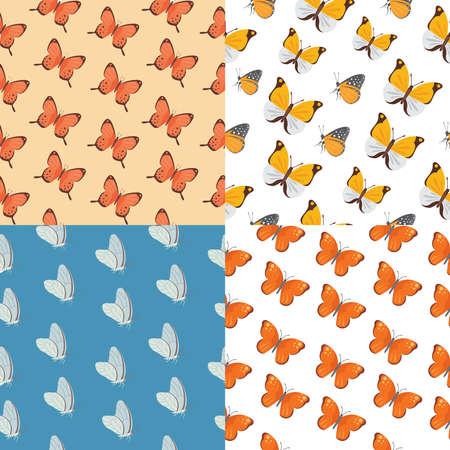 Butterfly seamless pattern vector. Summer butterflies background