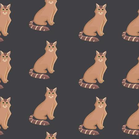 Vector cat seamless pattern. Cute kitten in cartoon style. Stock Illustratie