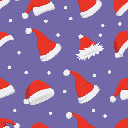 Santa hats background. Christmas seamless pattern vector. New year cartoon red hat