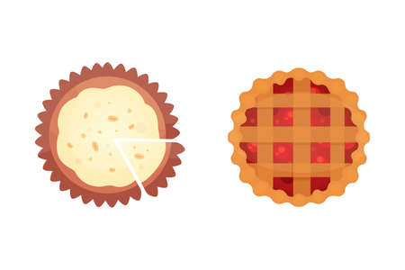 Fruit dessert pie vector icons in cartoon style. Sweet bakery product, berry and cream cake vector illustration