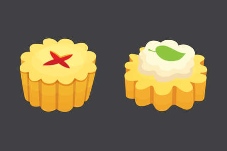Cookie and cake sweet dessert snack isolated vector illustration