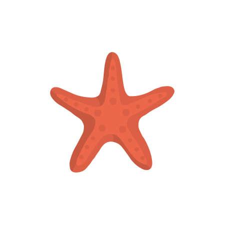 Sea star vector icon in cartoon style.