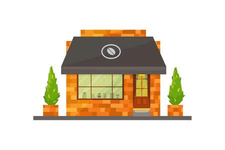 Store building vector illustration. cafe exterior, restaurant or cafe, market. Illustration