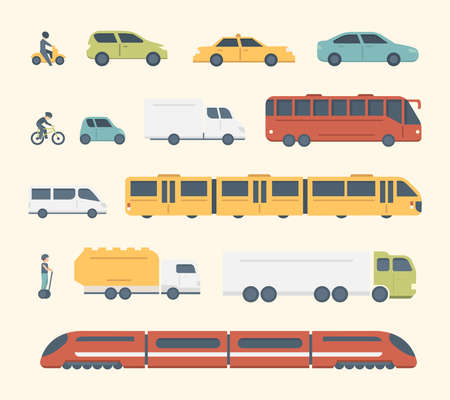 Different kinds of city and intercity public transport. Set transportation vector illustration. Car, bus and truck Icons Ilustrace