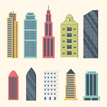 Buildings and downtown skyscrapers. Big city buildings vector illustration. Office apartment and house residential exterior