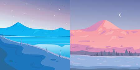 Winter Mountains landscape vector set. Cartoon outdoors vector Illustration. Snow mountain Çizim