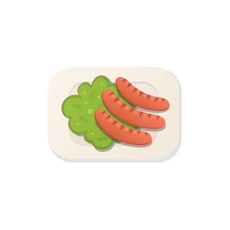 Sausage breakfast illustration isolated in cartoon style