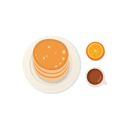 Breakfast fresh food and drinks top view. breakfast meal vector set  イラスト・ベクター素材