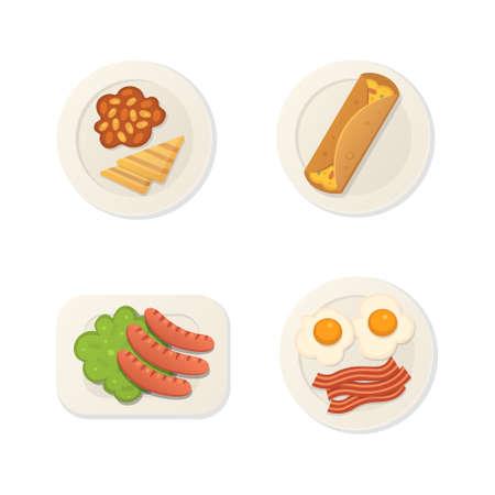 Breakfast fresh food top view. breakfast meal vector set Vector Illustratie
