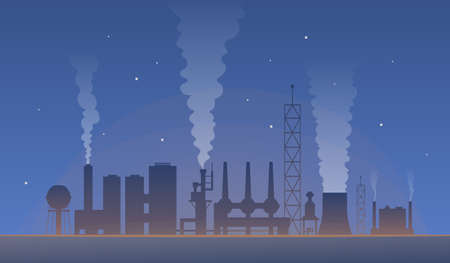 industrial landscape with factory pollution. Air polluted environment vector illustration. global warming and city production