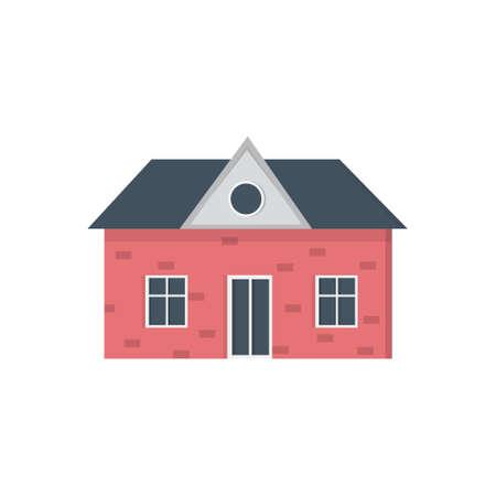 suburban private house Houses exterior. Vector urban building icon.