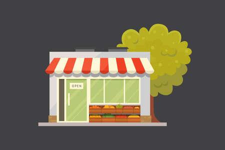 Shop store building front view vector illustration