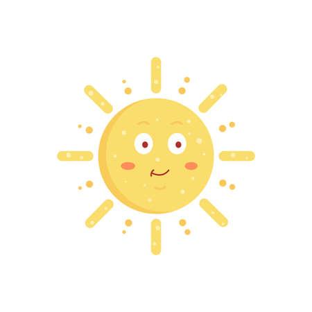 Funny vector hand drawn sun illustration. Cute sun emoticon icon. Summer sunny face emoji.