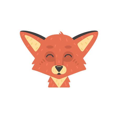 Cute kid fox face vector illustration isolated on white.