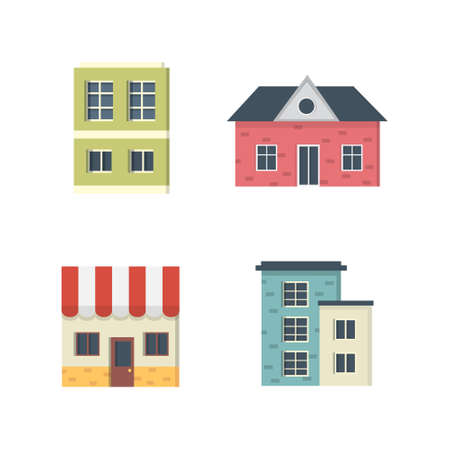 suburban private houses. House exterior. Vector urban building icons set.