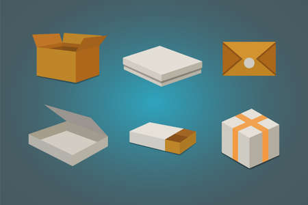 Set open and closed carton box. Delivery packaging vector illustration.