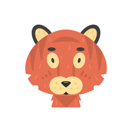 Cute kid tiger face vector illustration isolated on white.