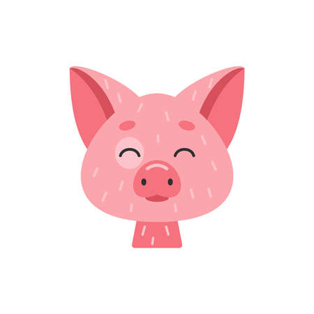 Cute pig face vector icon in cartoon style.