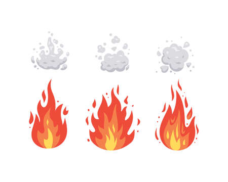 Fire flame vector icons in cartoon style. Flames of different shapes. Fireball set, flaming symbols.
