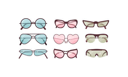 Colorful sunglasses vector set. Spectacles plastic frame collection. Summer sun protection. Stock Illustratie