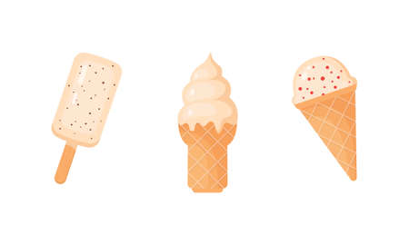 Colorful ice cream pop and waffle cones collection, vector illustration. Vanilla ice-cream scoops.