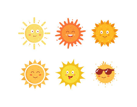 Funny vector hand drawn suns. Cute sun emoticons icons set. Summer sunny faces emoji collection.