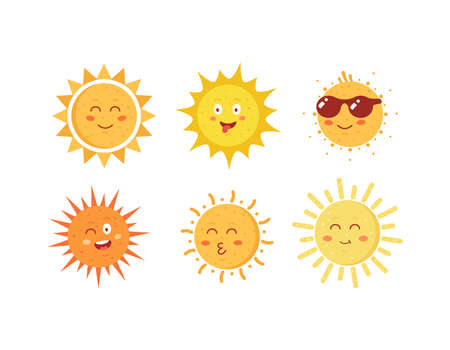 Funny vector hand drawn suns. Cute sun emoticons icons set. Summer sunny faces emoji collection