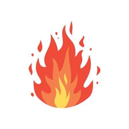 Fire flames vector icon in cartoon style. Flame, fireball illustration
