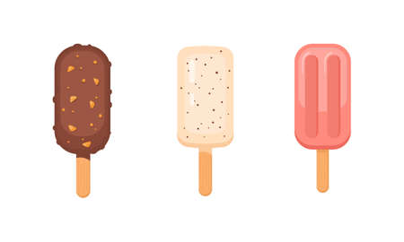 ice-cream vector set. Cute ice lollies collection isolated ob white background.