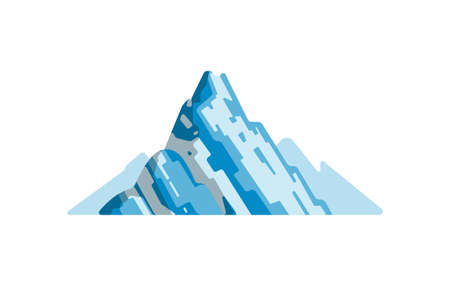 Mountains landscape isolated vector illustration in cartoon style. Nature mountain silhouette.