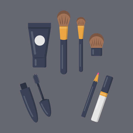 Make up cosmetics set of vector icons in cartoon style. Beauty salon and woman cosmetic magazine illustrations