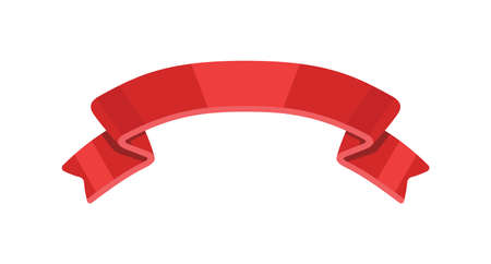 Red ribbon icon isolated on white background.