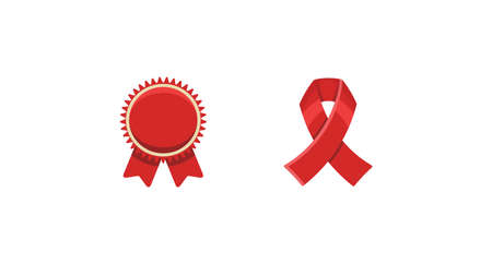 Red ribbons award, isolated on white background. Decorative ribbon banner.