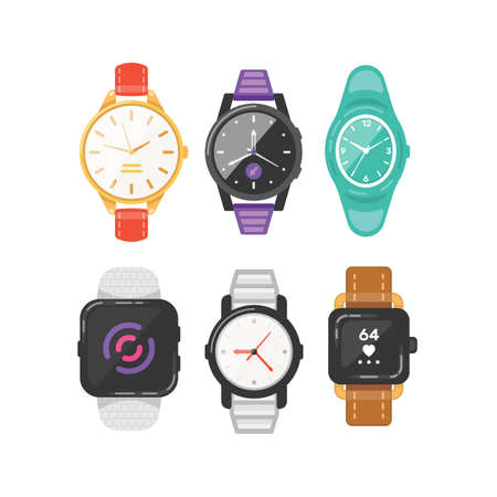 Classic mens and womens watches set of vector icons. Watch for businessman, smartwatch and fashion clocks collection.