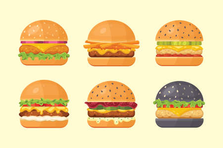 Set of classic burgers with flying ingredients. Vector hamburger icons