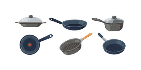 Frying pan vector icons set. Kitchen pots and different pans isolated on white background Stock Illustratie